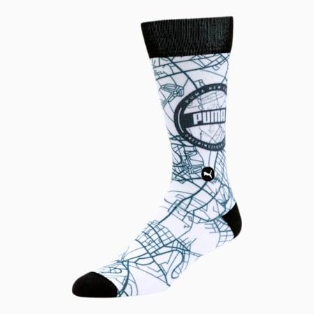 Men's 3D Print Socks [1 Pair], WHITE / BLACK, small